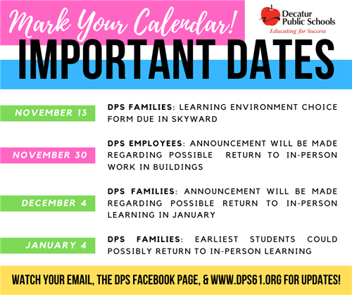 Important Virtual Learning Dates