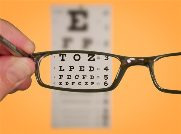 eye exam chart & glasses