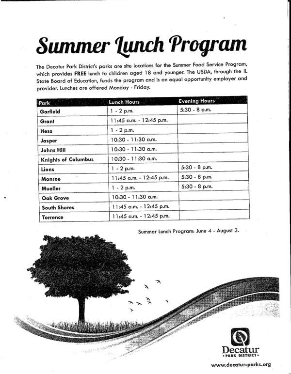 Decatur Park District Summer Lunch Program