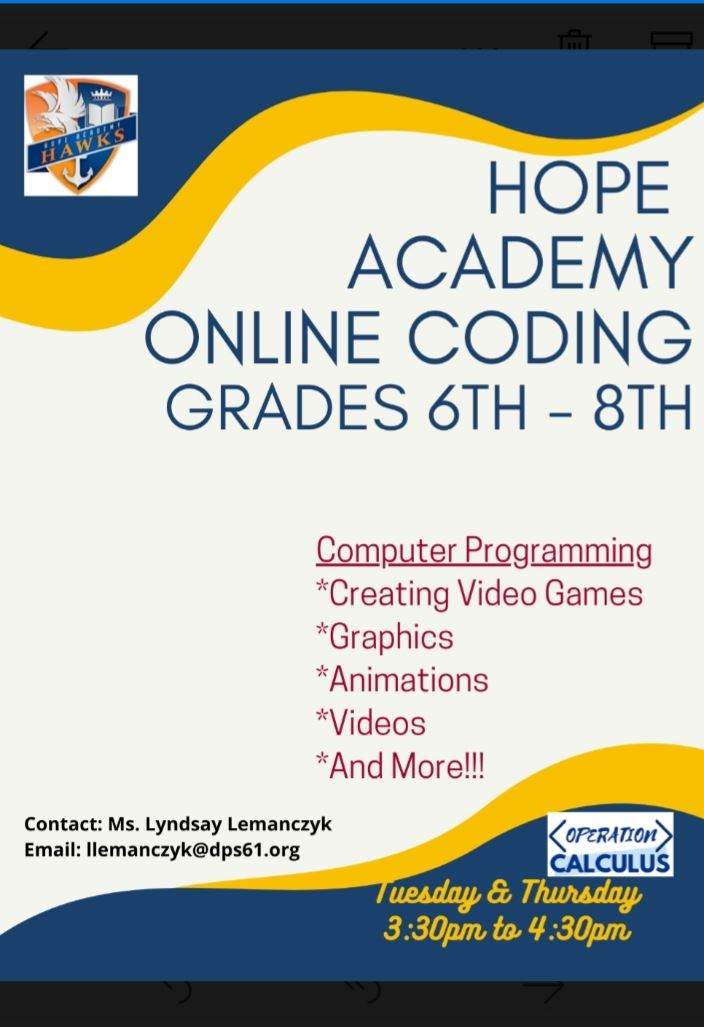Hope Academy Online Coding Grades 6th - 8th