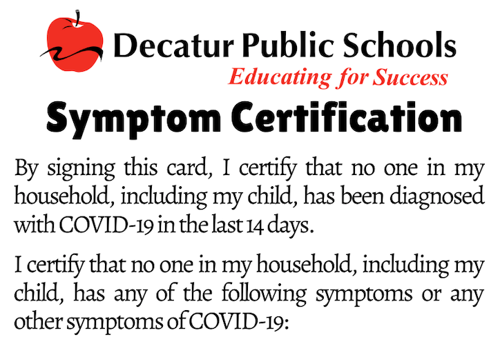 Student Symptom Certification Form