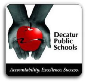 District 61 logo hands holding red apple with text.